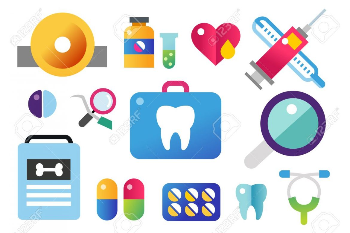 46481379 dental vector icons set dentist clinic icons vector tooth heart pills health care tooth care oral hy 1170x779 - بهترین روش مسواک زدن و شستن دندان ها
