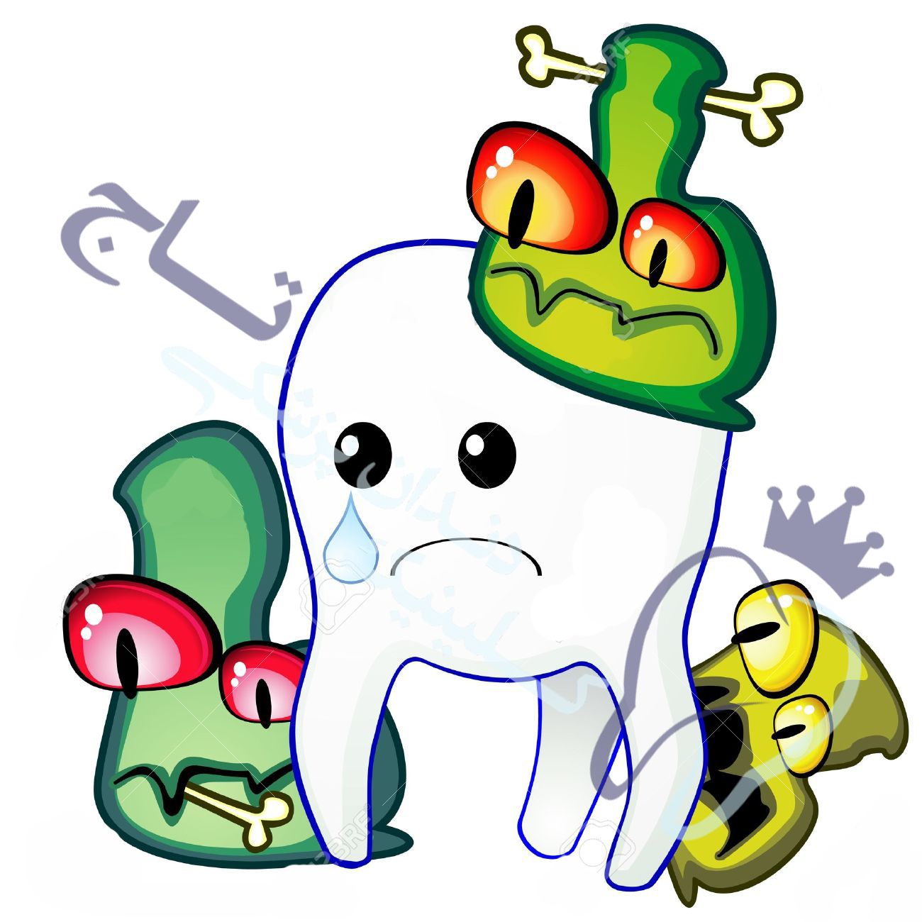 11651395 poor sad tooth is attacked by germs of caries - برنامه مراقبت از سلامتی دهان و دندان